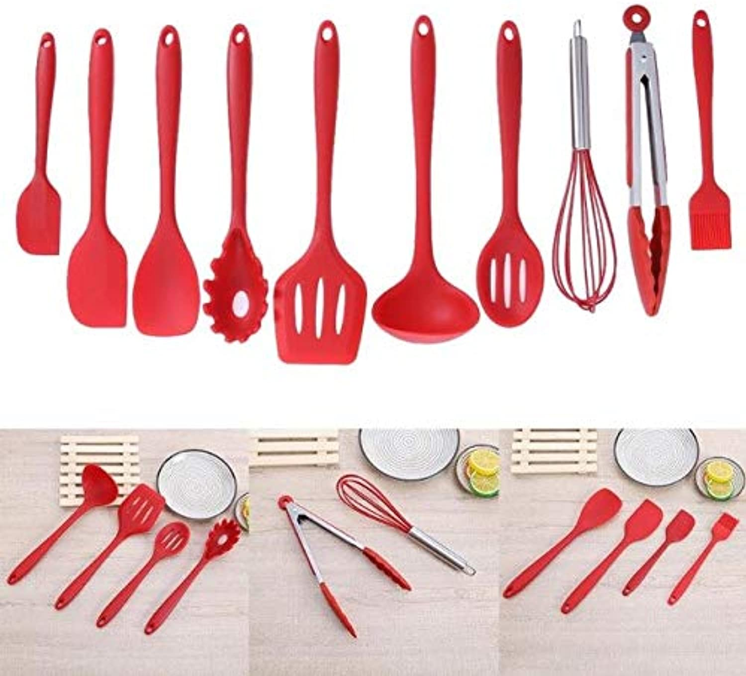 Farmerly 10 pcs Set Kitchen Tools Silicone Cooking Tools Kitchen Utensils Set of Silicone Kitchenware Spatula Spoon Ladle Spaghetti Serve   Red