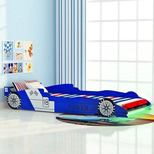 vidaXL Cama para Niños con Forma de Coche de Carreras con Luces LED Muebles para Habitación Infantil 90x200 cm MDF Azul