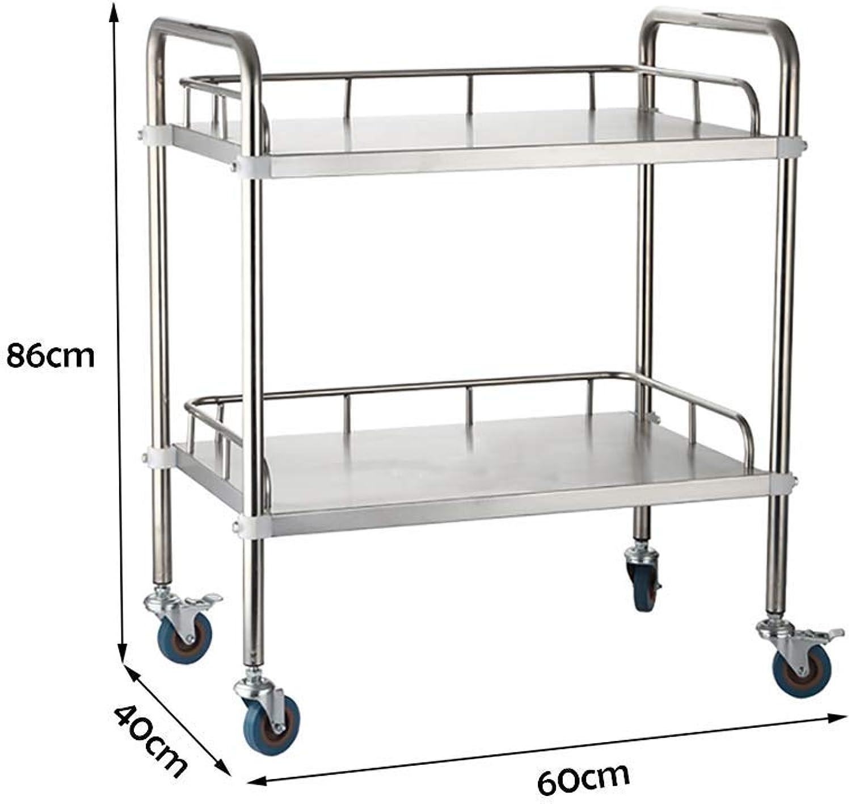 XQY Hospital Trolley, Medical Supplies Rack-Medical Cart Tool 2 Tier Stainless Steel Beauty Salon Rolling Trolley, Hospital Dental Clinic Medical Equipment Cart, Universal Brake Wheel, 50 Kg Capacity