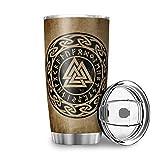 Elucassi Vaso de café con aislamiento al vacío de doble pared para mi hijo, de 20 onzas, con tapa, termosos de camping, color blanco, 597 ml