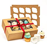 Smirly Cupcake Boxes Bulk - Disposable Cupcake Containers, Cupcake Holder with Lid, Bakery Boxes with Window, Pastry Boxes with Window, Brown Cookie Boxes with Window, Long Treat Boxes with Window