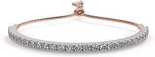 أساور الماس الطبيعي المعتمدة من IGI للنساء مجوهرات مع ذهب أبيض 14 قيراط 1.43 قيراط (I-J/SI1)