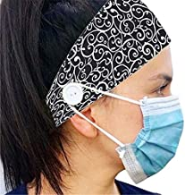 Headband with Buttons for Mask - Nurse Gifts for Women - Ear Savers For Masks (Black)