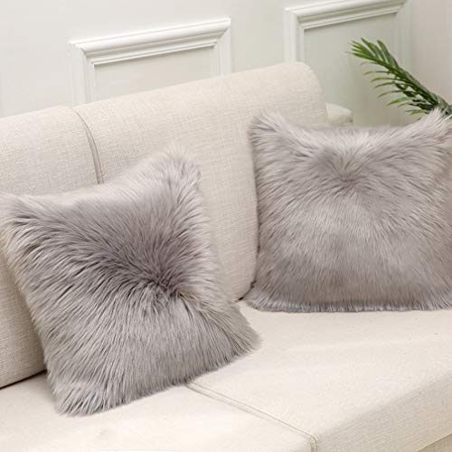 Sweetwill 2Pcs Fluffy Soft Square Pillow covers Faux Fur Throw Decorative Pillow Cover Plush Pillow Case Faux Fur Cushion Covers For Livingroom Sofa Bedroom Car (Grey, 60 x 60 cm / 24x24)