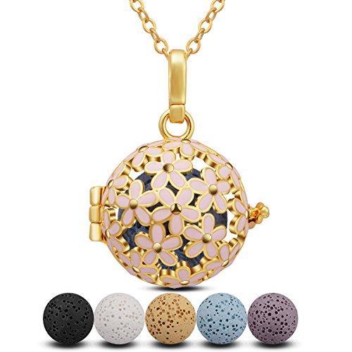 INFUSEU Aromatherapie Essentiële Olie Diffuser Parfum Ketting voor Vrouwen, Daisy Holle Hanger Charm Aroma Locket met 5PC Lava Rock Stones & Chain 24