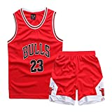 Sokaly Ragazzi Adulto Chicago Bulls Jorden # 23 Golden State Curry Boston Pantaloncini da Basket Jerseys Set di Abbigliamento Sportivo Maglie Top e Shorts (Altezza 100-180cm) (Rosso#23, L(Altezza))