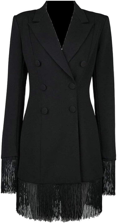Alion Womens Oversized Button Down Boyfriend Blazer Jacket with Pocket