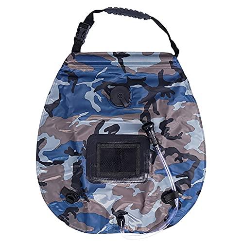 Bolsa de ducha solar, bolsa de ducha solar 20L, bolsa de ducha plegable portátil, bolsa de agua de ducha de camping, con boquilla de ducha giratoria, para viajes de camping al aire libre