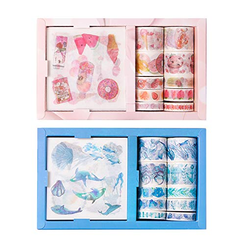 LdawyDE Washi Tape Set Cinta Adhesiva Decorativa 20 Rollos de Cinta Adhesiva Washi de Colores Lindo Juego de Cintas Temáticas de Comida y Mar con 20 Hojas de Pegatinas para Manualidades/Bullet Journal