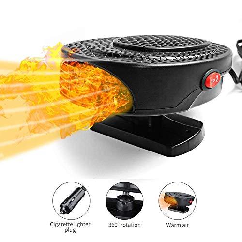 Calefactor portátil para coche, para invierno, parabrisas, calefacción de coche, ventilador de refrigeración, descongelación, 12 V, 150 W (Negro)