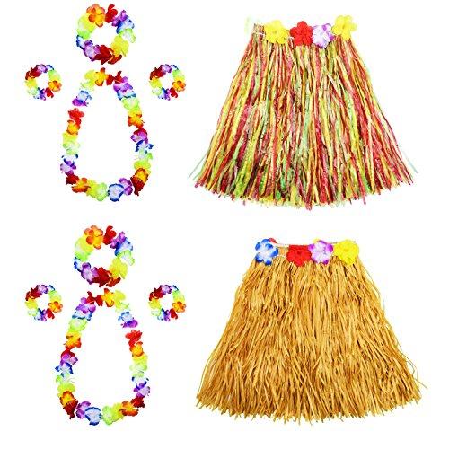 FLOWOW Gonna in Erba con Fiori Leis Costume Set, Elastico Luau Erba e Hawaiano Fiori Braccialetti, Fascia per Capelli, Collana per Festa Favori, 2 Set