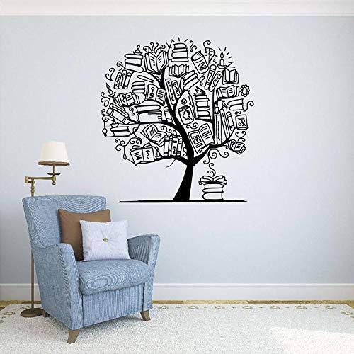 Árbol y libro Etiqueta de la pared Librería Biblioteca Etiqueta de vinilo Educación Familia Arte Diseño Mural Decoración de interiores de aula