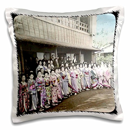 3dRose Vintage Geisha Girls - Pillow Case, 16 by 16-inch (pc_16119_1)