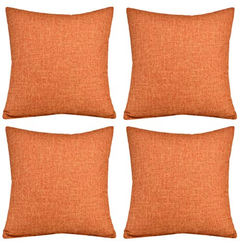Gonove 4 Pack - 18'X18 Cotton Linen Throw Pillow Covers Decorative Pillowcase Square Cushion Cover for Sofa, Couch (Orange)