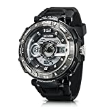 IXHIM Men's Sport Watch Chronograph #A2801 Multifunctional, Dual Digital & Analog Time Display Casual Outdoor Watch - Racing Design - 100m 330 ft Water Resistant - Black PU Band (Grey)