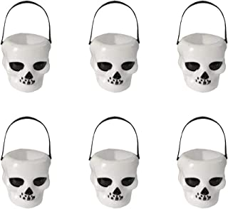 Amosfun 12pcs 6x5.5cm Halloween Candy Bucket Skull Heads Shaped Trick or Treat Candy Pail Holder Halloween Mini Plastic Candy Buckets Halloween Party Favors