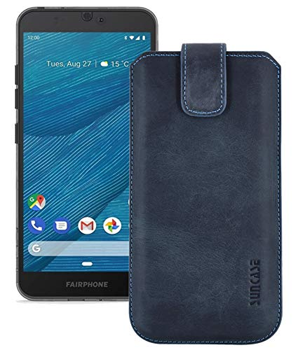 Suncase Echt Leder Hülle kompatibel mit Fairphone 3+   Fairphone 3 Plus Tasche (passend nur für das Gerät OHNE Bumper) Pebble Blue