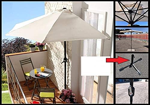 Ombrellone Mezzaluna a parete salvaspazio tondo Ø 270x254H cm in alluminio colore ecrù