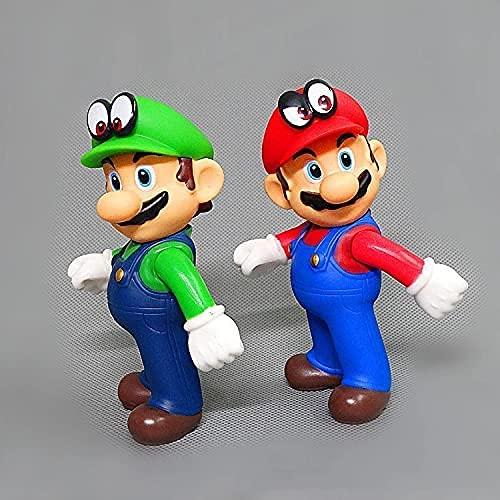 2 Piezas 12 Cm Anime Super Mario Bros Luigi Conjunto De Adornos De Coche MóViles Figura De Pvc Juego De Dibujos Animados Modelo De Personaje DecoracióN De Escritorio Recoger Regalos De CumpleañOs