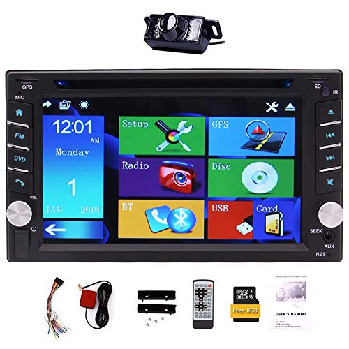 "Upgrade Version With Camera ! 6.2"" Double 2 DIN Car DVD CD Video Player Bluetooth GPS Navigation Digital Touch Screen Car Stereo Radio Car PC 800MHZ CPU"
