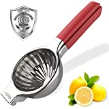 XBUTY Jumbo Lemon Squeezer 304 Stainless Steel Maunal Juicer Citrus Press with 3.54 Inch Super Large Bowl, with Red Silicone Handles Manual Juicer,Perfect for Juicing Oranges, Big Lemons & Limes