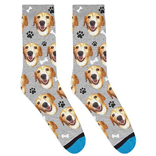 DivvyUp Socks - Custom Dog Socks - Put Your Dog on Socks! (Large, Heather Gray)