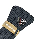 4-in-1 105ft Paracord Rope 600lb Parachute Fire Cord Paracord 10 Strand, 5/32' Diameter U.S. Military Type III 550 Parachute Cord (MIL-C-5040H) with Integrated Fishing Line, Fire-Starter Tinder