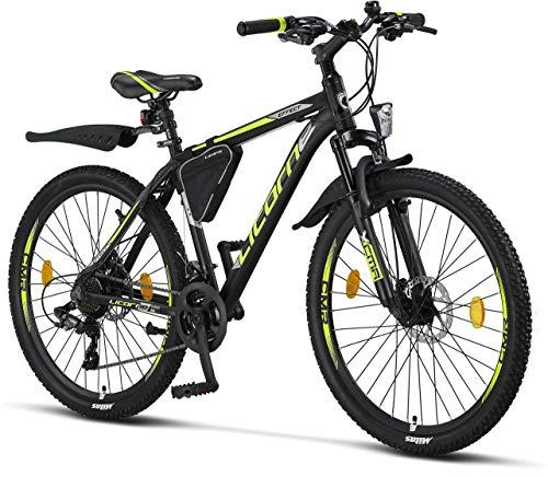 Licorne - Mountain bike Premium per bambini, bambine, uomini e donne, con cambio Shimano a 21 marce, Bambina, nero/lime (2 freni a disco)., 26 inches