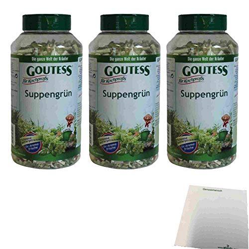 Goutess Suppengrün Gefriergetrocknet 3er Pack (3x110g Dose) + usy Block