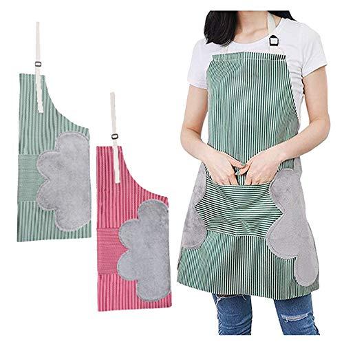 Gqavril12 Delantal de Chef de Tela Oxford con Bolsillos Delantal con bolsillo de toalla Delantal de Cocina Adorable Delantal de Cocina Mujer Mandiles de Cocina Impermeables Delantal (2 piezas)