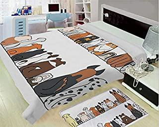 3-D Printing Fine Comfortable Flannel Blanket,Dog Lover Decor,Multicultural Dog Family in a Row from Back and Front Views Companionship Comic Art,Yellow Brown,One Side Printing,Excess Value