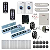 Visionis FPC-8346 2 Doors Access Control Electromagnetic Lock Outswinging Door 600lbs TCP/IP Wiegand Controller Box, Outdoor Metal Anti Vandal Keypad/Reader, Software 10000 User, Receiver, PIR Kit
