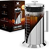Cafe du Chateau Cold Brew Coffee Maker - 34 Ounces - 304 Grade Stainless Steel Filter - Borosilicate...