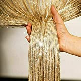 Happiness Glitter String Curtain Blinds Panels Door Fly Screen Room Dividers Voile Net Curtains 2Mx1M (Gold)