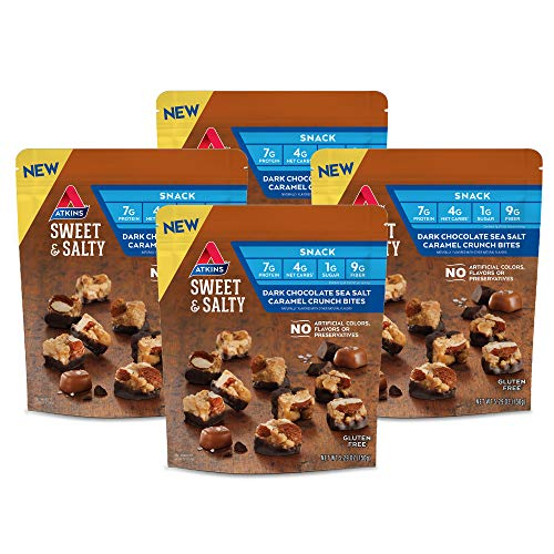 Atkins Sweet & Salty Dark Chocolate Sea Salt Caramel Crunch Bites (Pack of 4)