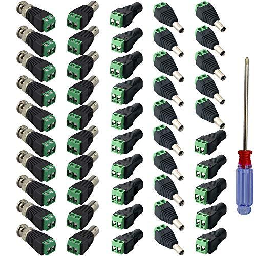 QitinDasen 15 Paia 2.1 X 5.5mm 12V DC Alimentazione Maschio e Femmina Connettore + 10 Paia Maschio e Femmina BNC Video Balun Connettore, con Cacciavite a Stella