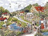数字キットによるDIY絵画田舎の川の群衆ブラシとアクリル絵の具を含む大人と子供のためのDIYキャンバス油絵16x20インチ(フレームなし)アートデコレーション
