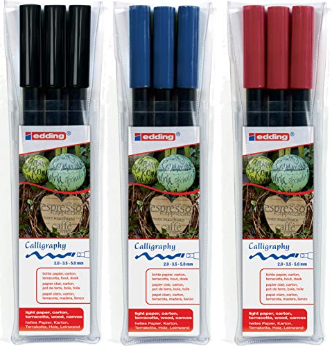 edding 1255 Kalligrafie-Stift - Farbe: schwarz, karmesin rot und blau - Ideal für Kalligraphie und Lettering auf nahezu allen Oberflächen - Made in Germany