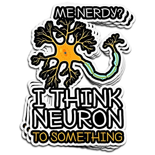 DKISEE 3 PCs Stickers Me Nerdy I Think Neuron to Something Funny Neuroscience Die-Cut Wall Decals for Laptop Window Car Bumper Water Bottle Helmet 4 inches