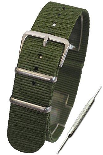 カーキ 24mmNATOタイプ ナイロン ベルト ストラップ 腕時計 11Strapsバネ棒外しセット