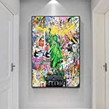 CAPTIVATE HEART Impresión en Lienzo 60x80cm sin Marco Estatua de la Libertad Street Wall Art Canvas Posters and Prints Graffiti Pop Art Lienzos para decoración del hogar ictures1