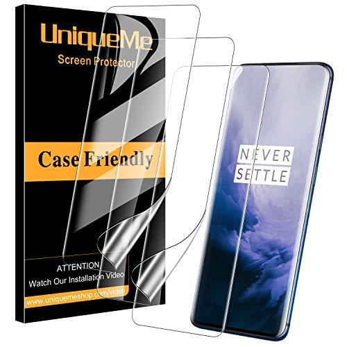 UniqueMe [3 Stück] schutzfolie für Oneplus 7T Pro/Oneplus 7 Pro Folie, Oneplus 7T Pro [Flexible Folie] Soft HD TPU Klar Bildschirmschutz Bildschirmschutzfolie