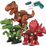Dinosaurios Juguetes con Taladro Eléctrico,Juego Construccion Puzzle Tiranosaurio Rex,Velociraptor y Triceratops para DIY Juegos de Dinosaurios Cumpleaños Regalo para Niños de 3,4,5,6,7,8,9 Años