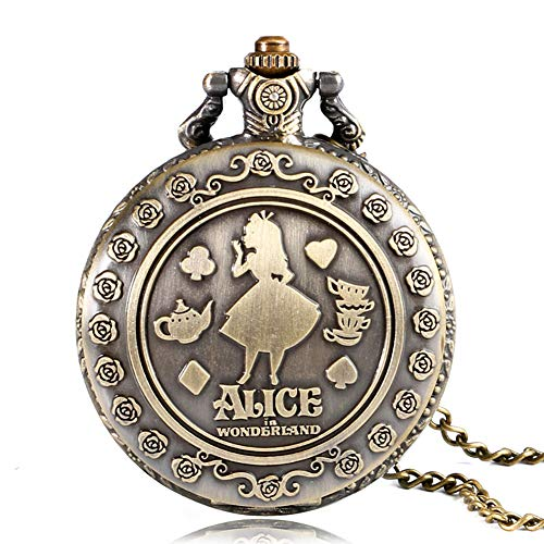 Alicia en el país de las maravillas Vintage reloj de bolsillo bronce cuarzo Fobo reloj collar colgante cadena reloj