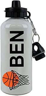 Personalized Custom Basketball Hoop with Basketball Aluminum White Finish 20 Ounce Sport Water Bottle Customizable
