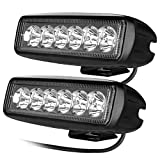 CooAgo LEDワークライト LEDライトバー オフロード 防水作業灯 CREE製18W 6連 10-30VDC対応 12V/24V兼用 白 ( 2個セット、1年保証 )