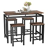 SSLine 5-Piece Bar Table and Chair Set,Modern Industrial Pub Bar Dining Table Set Wood Kitchen Table Set,Counter Height Dining Set with 4 Stools (Style-7)