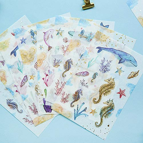 3 Sheets/pack Kawaii Under the Sea Golden Silver Foil DIY Decorative Stickers Diary Phone Bottle Decoration Stick Label