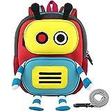 GAGAKU® Roboter Kinderrucksack für Jungen 2-6 Jahre 3D Cartoon Neopren Mini Kinder Rucksack Kindergarten mit Brustgurt und Anti-Verlust Leine - Rot und Blau