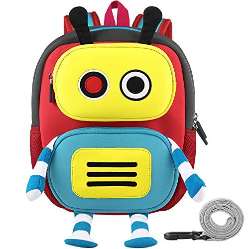 GAGAKU® Mochila infantil para niños de 2 a 6 años con dibujos animados en 3D, de neopreno, para guardería, con correa para el pecho y correa antipérdida, diseño de mono y robot Robot S